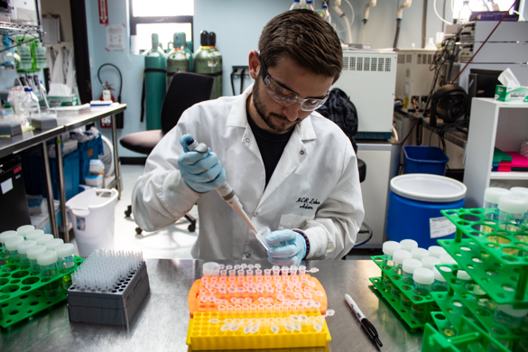 As a tech, Adam sees all kind of cannabis samples come through the lab such as infused pizza.
